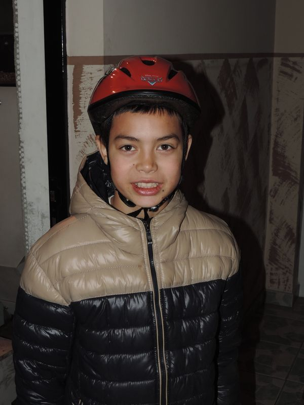 Marius asked for a helmet for when he rides his bike..JPG